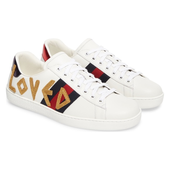 dda60398e Gucci Shoes - Gucci New Ace  Loved  Leather Trainer